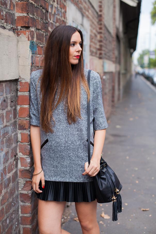 vestito grigio look