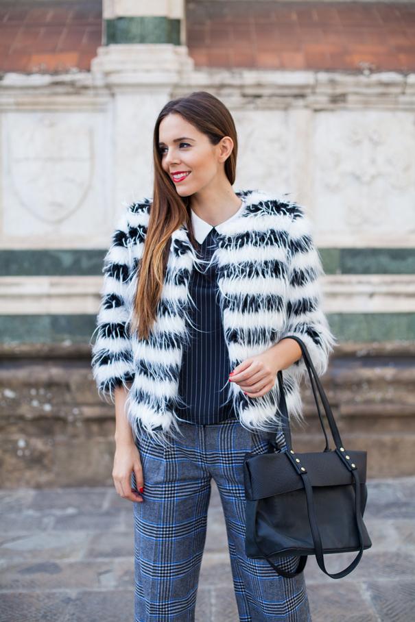 outfit pelliccia bianco e nera