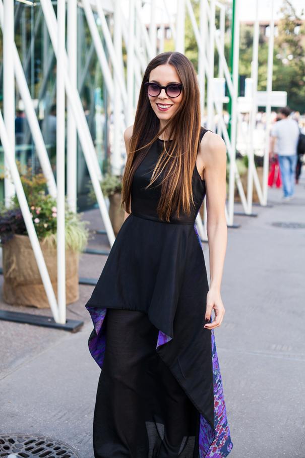 mauro gasperi vestito lungo nero e viola