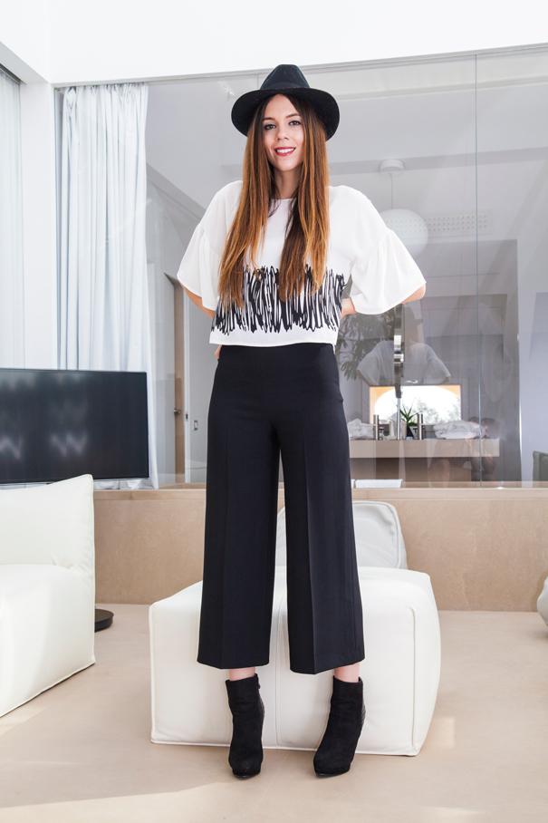 pantaloni culottes neri