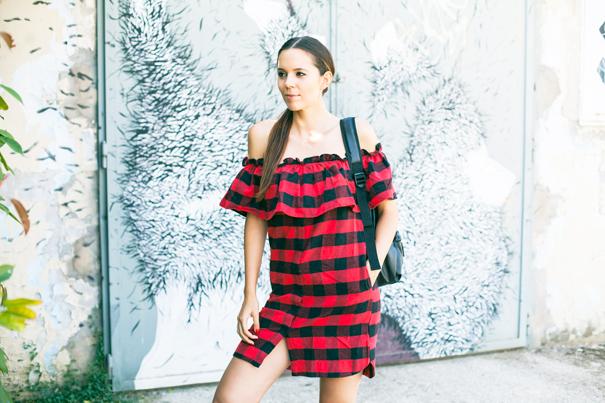 vestito rosso tartan