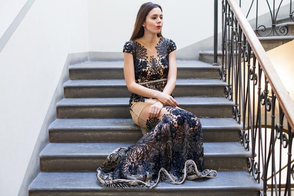 vestito da sera trasparente