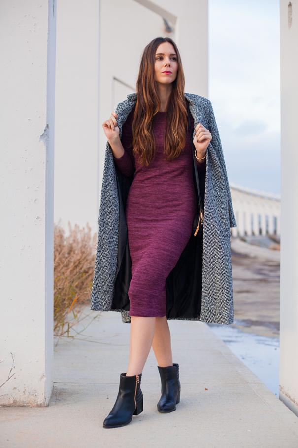 vestito lungo viola