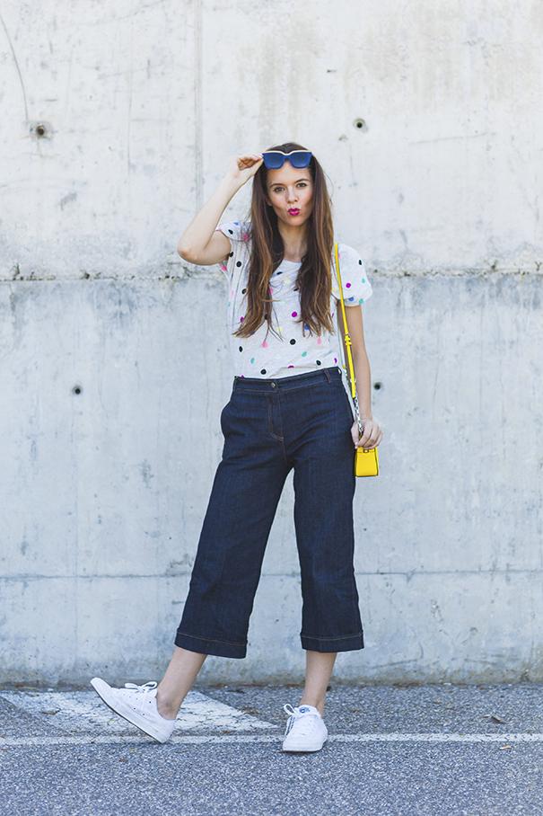 maglietta a pois | culotte di jeans | outfit estivo