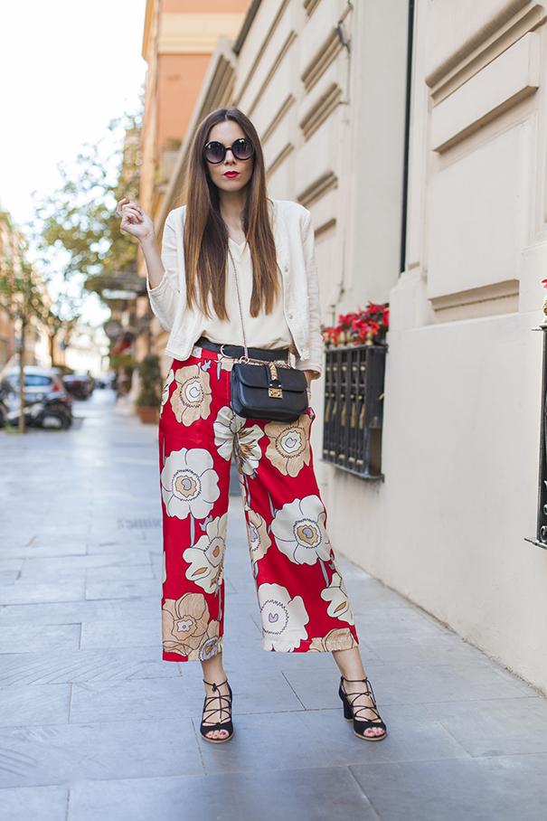 Pantaloni floreali culotte