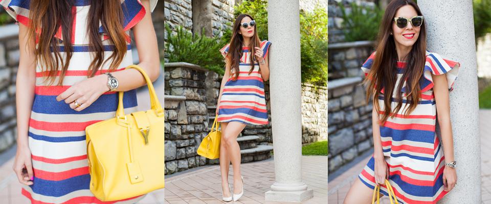 vestito-a-righe-colorate-ed-un-tocco-di-giallo