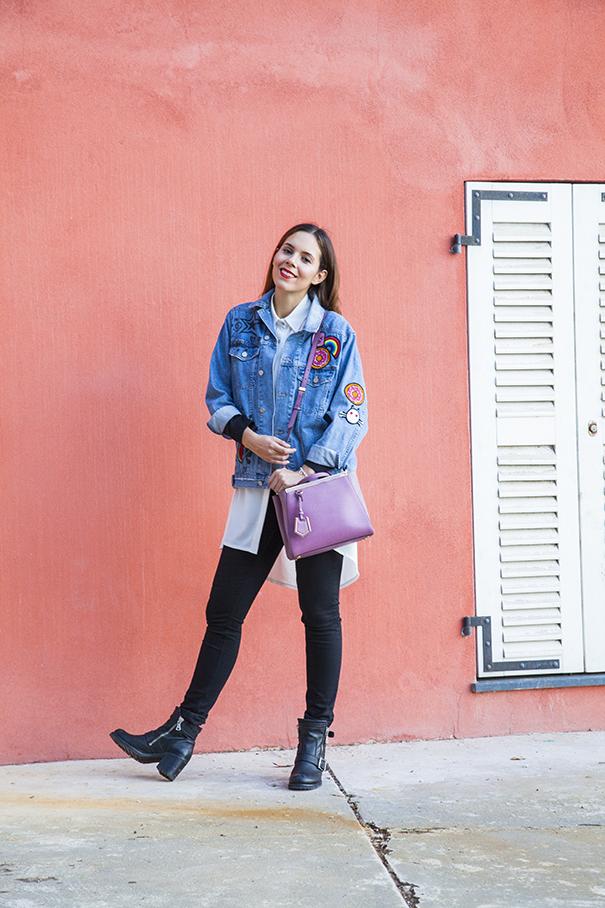 giacca in denim personalizzata | giacca di jeans personalizzata | borsa fucsia | irene colzi