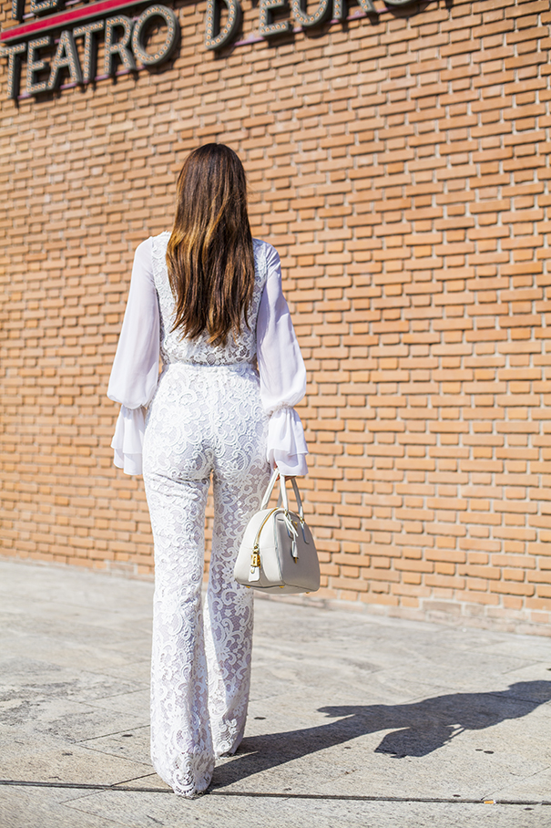 total look bianco | outfit total white | tuta in pizzo