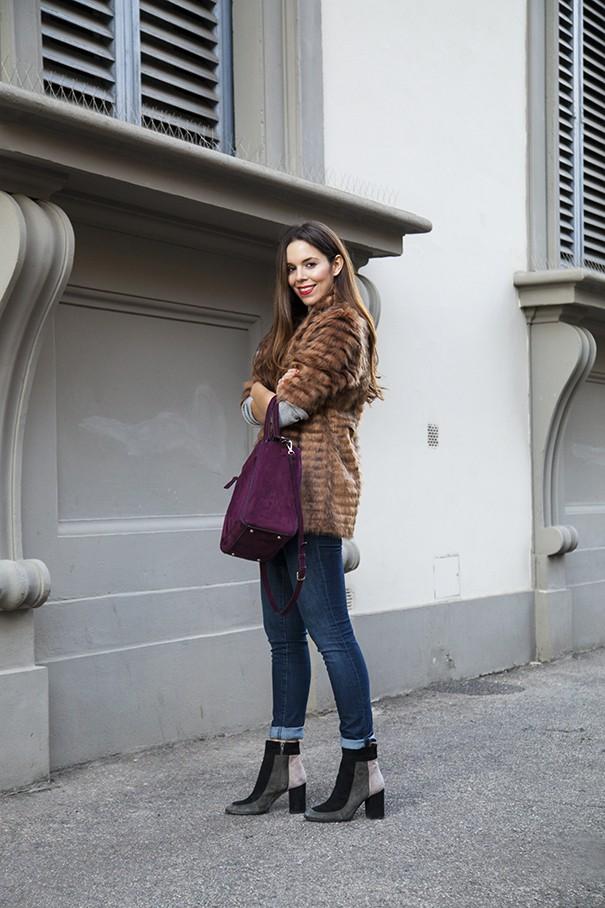 look con eco pelliccia classica marrone