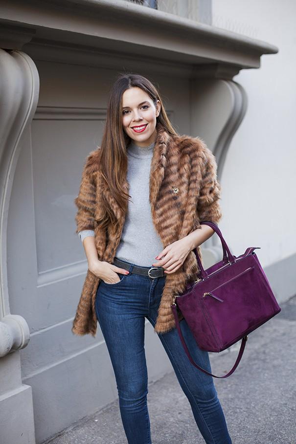 eco pelliccia classica marrone