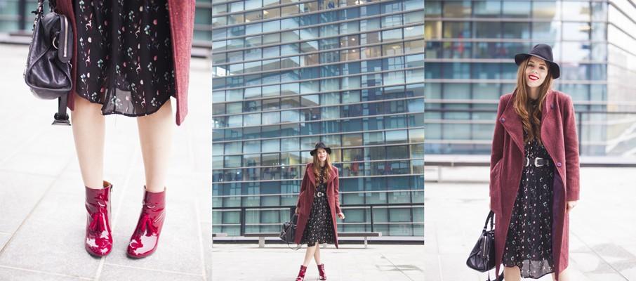 cappotto color vinaccia con vestito floreale