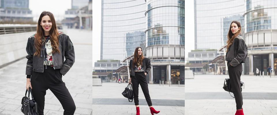 look black con scarpe rosse irene colzi