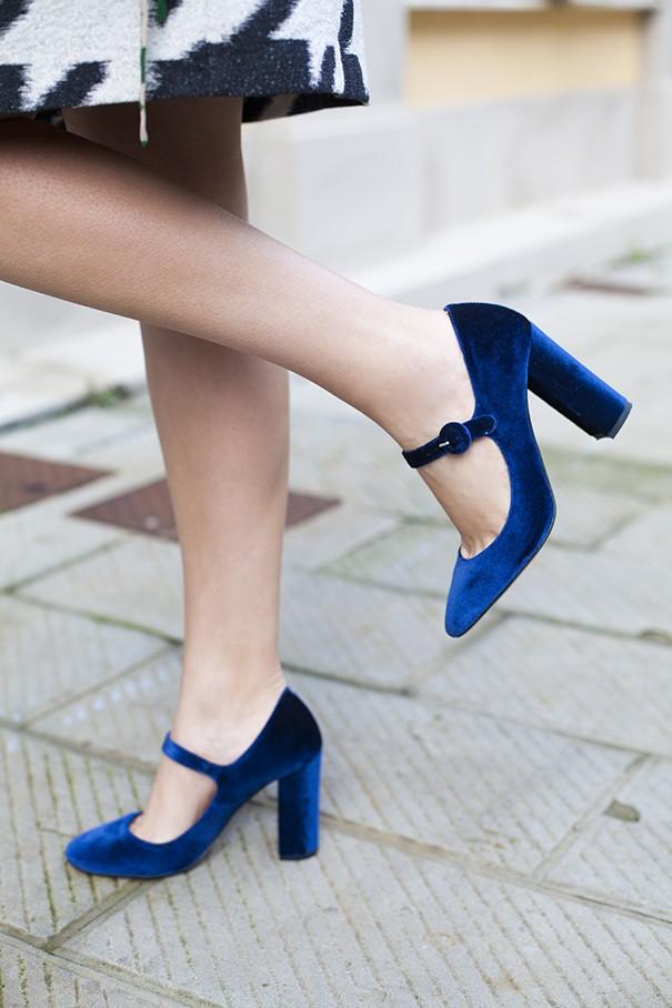 madame cosette scarpe in velluto blu
