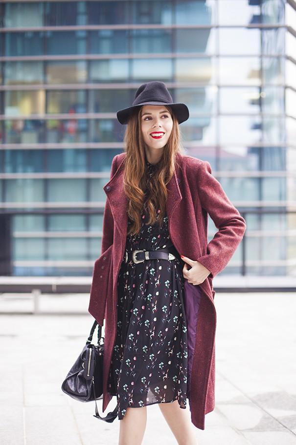 vestito con cappotto fucsia cappotto per l'inverno
