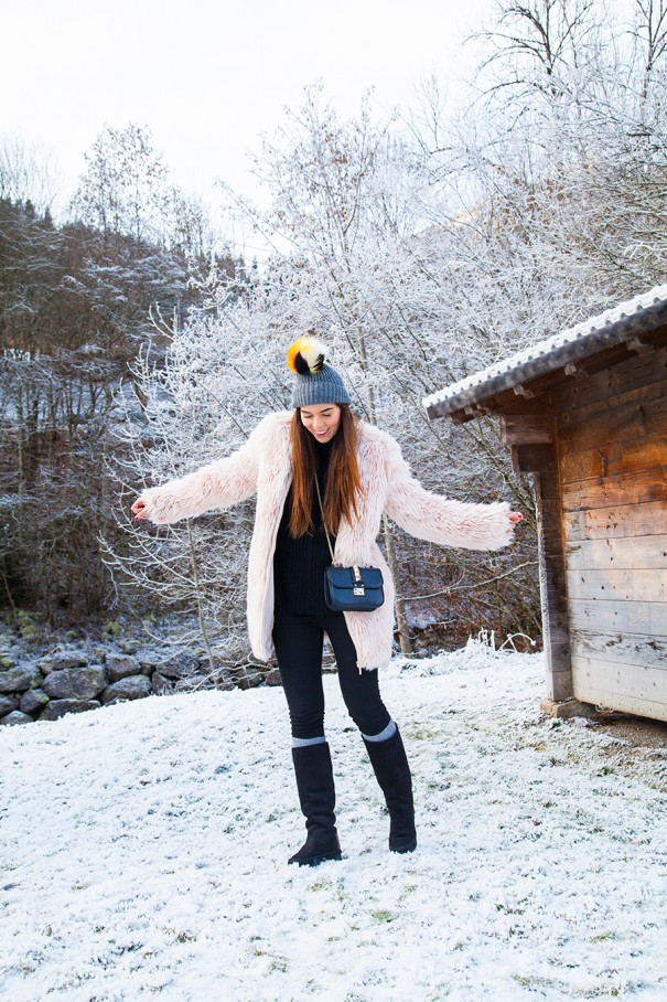 irene colzi outfit invernale con pelliccia