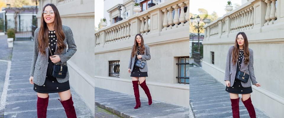 outfit con stivali in velluto e vestito nero