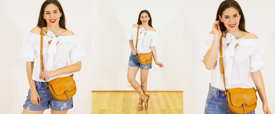 top bianco e shorts di jeans
