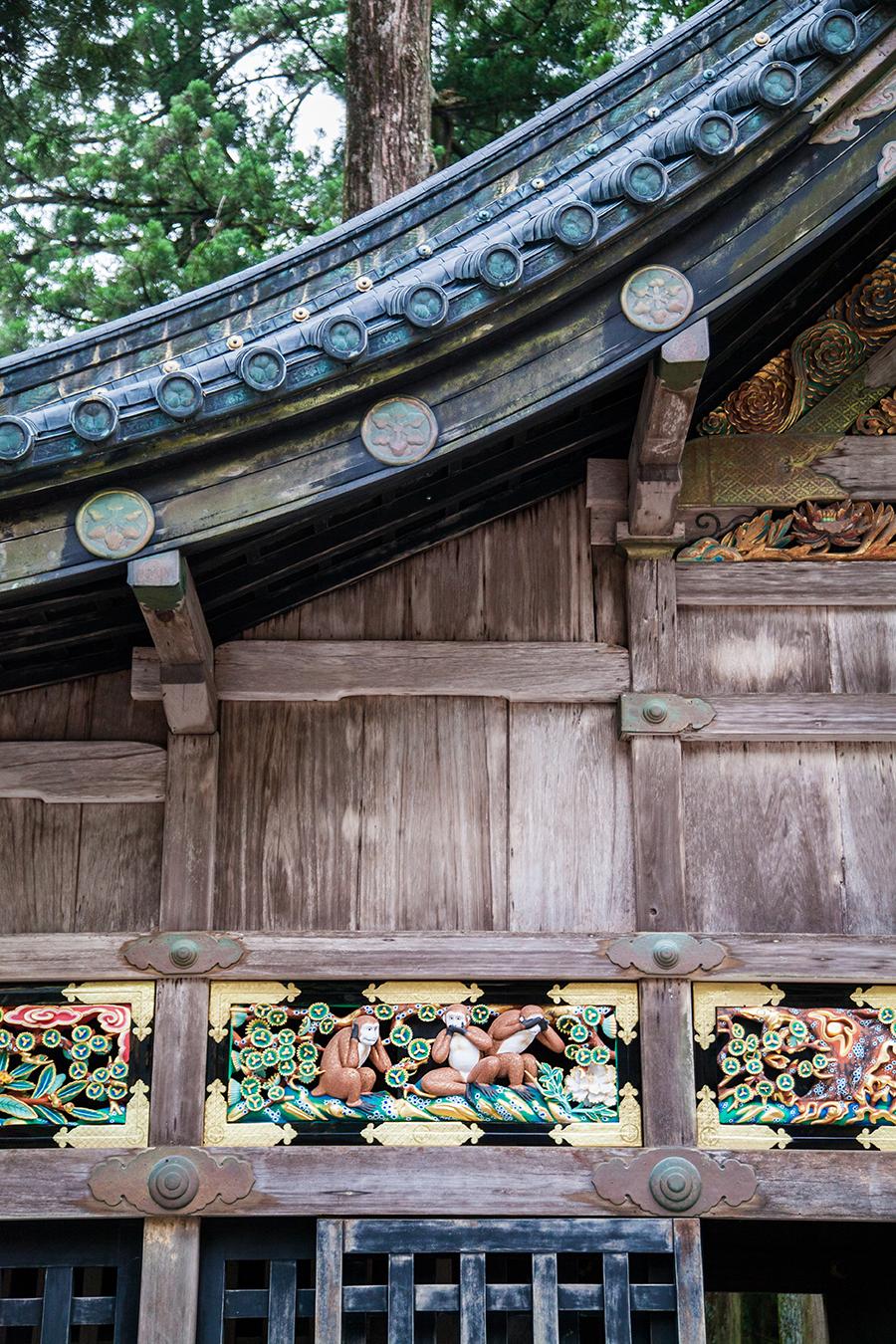 tre scimmie a tempio nikko