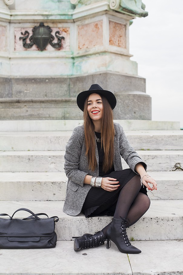 casual outfit | look invernale | vestitino nero