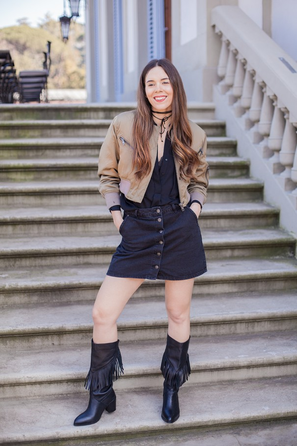 outfit con bomber verde