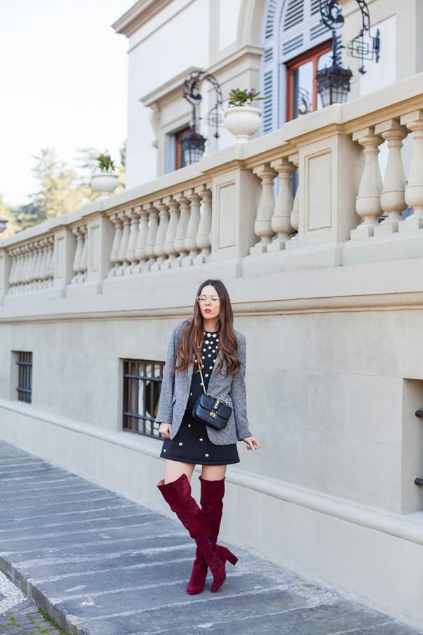 outfit con vestitino nero da giorno irene colzi