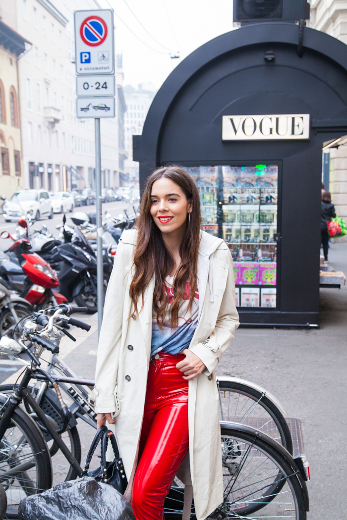 outfit look irene colzi pantaloni in vinile
