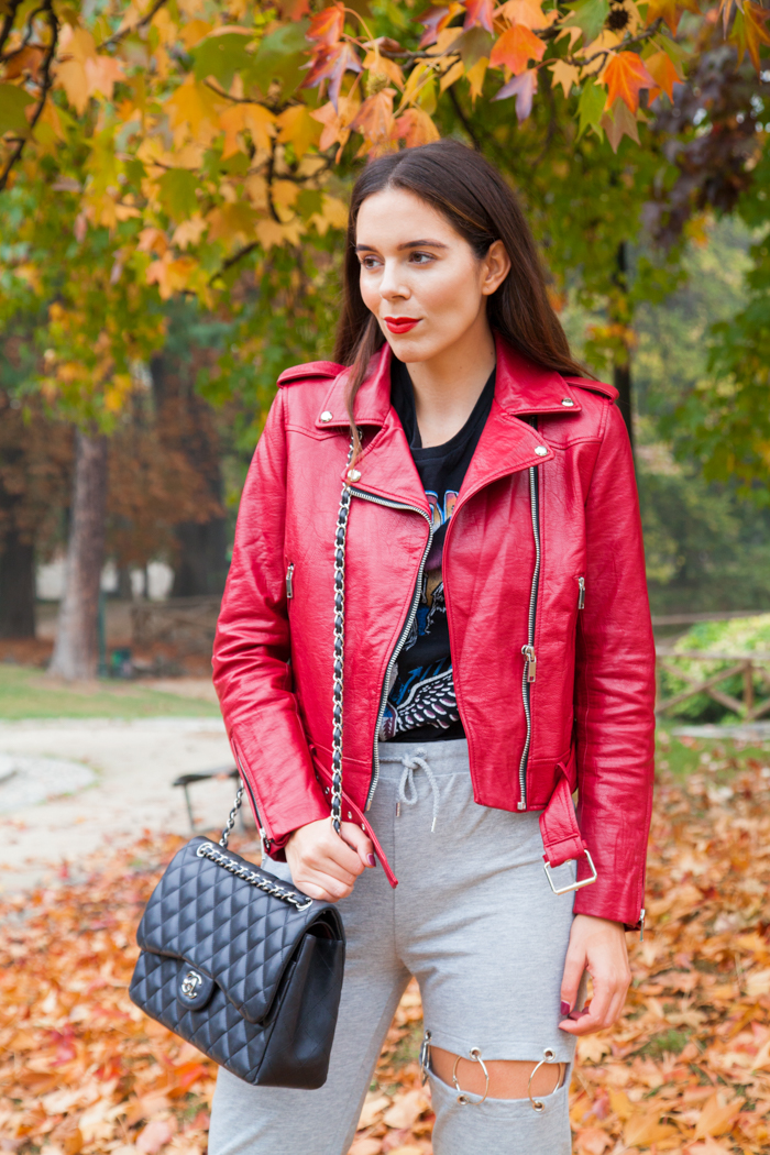 outfit look irene colzi look con chiodo rosso