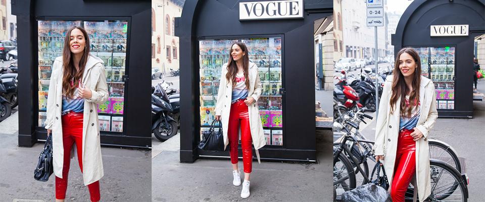 pantaloni in vinile rossi