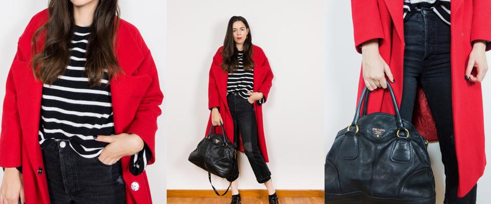 cappotto rosso e felpa bianca e nera