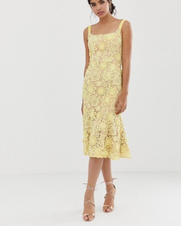 giallo vestito pizzo