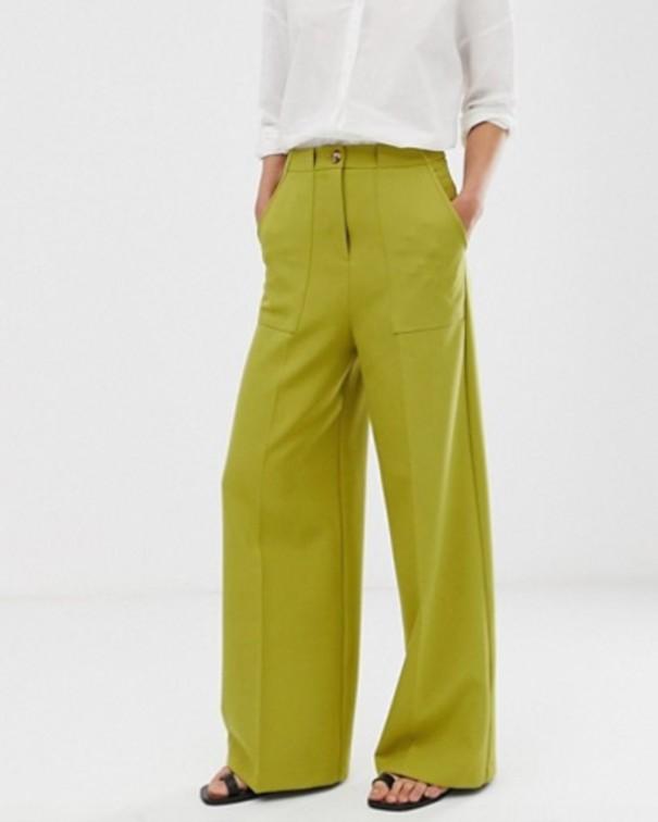 Pantaloni a vita alta verdi