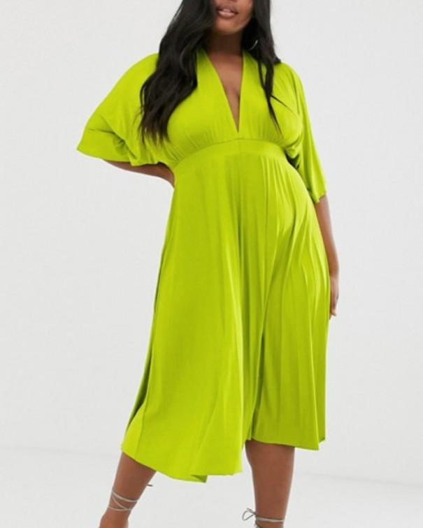 Sì alla scollo a V profondo abito verde