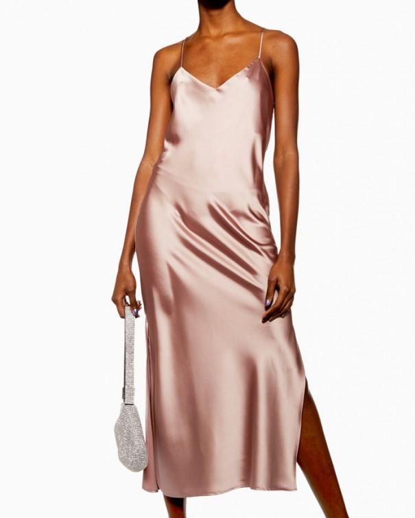 Sì allo slip dress bronzo