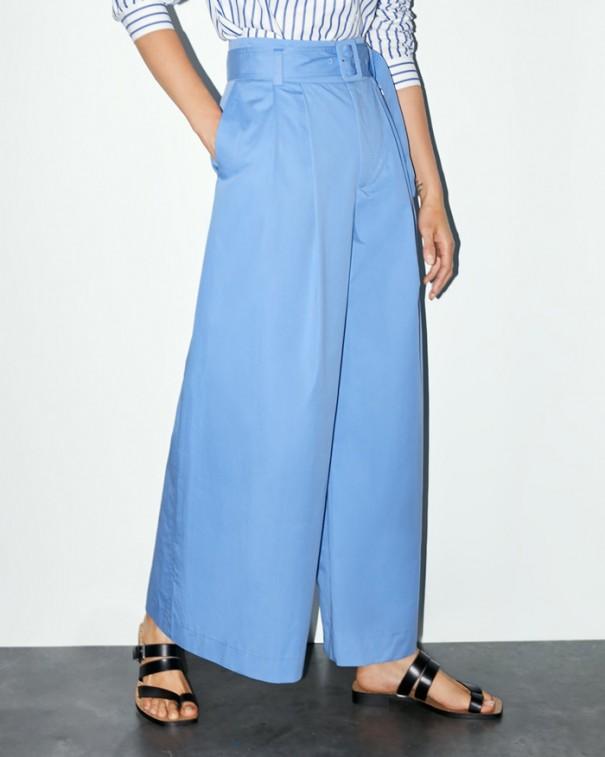 pantaloni leggeri lunghi a vita alta blu
