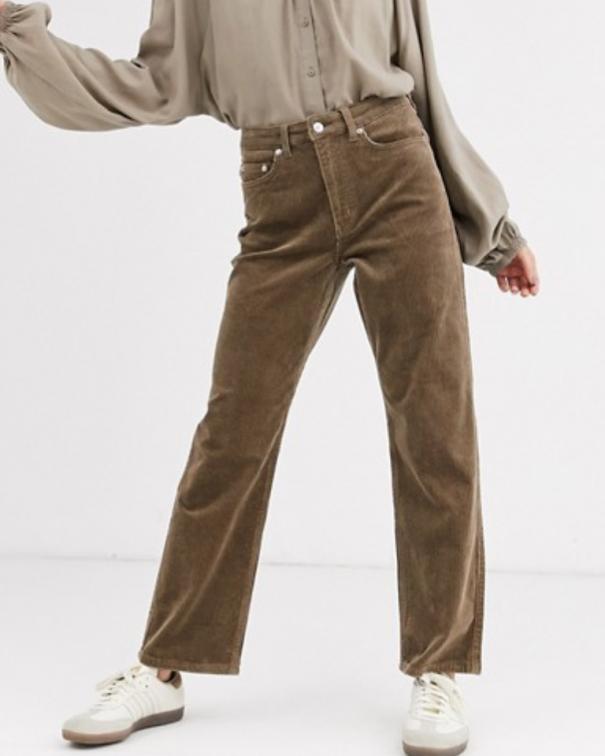 pantaloni in velluto marrone