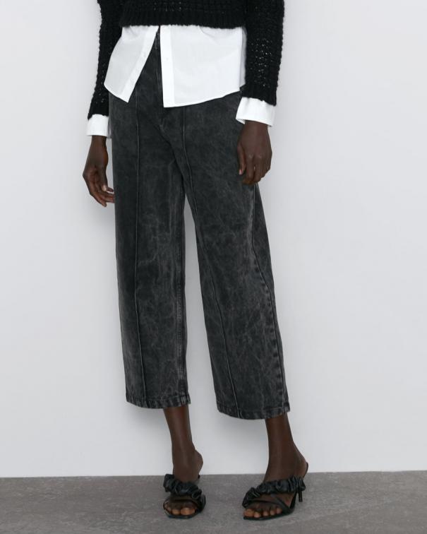 pantaloni oversize con pinces grigi