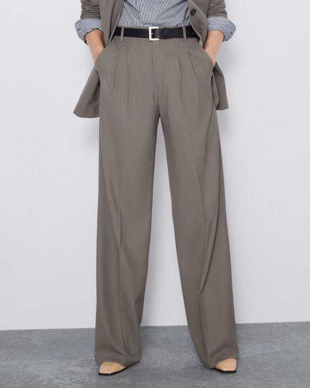 pantaloni palazzo grigio