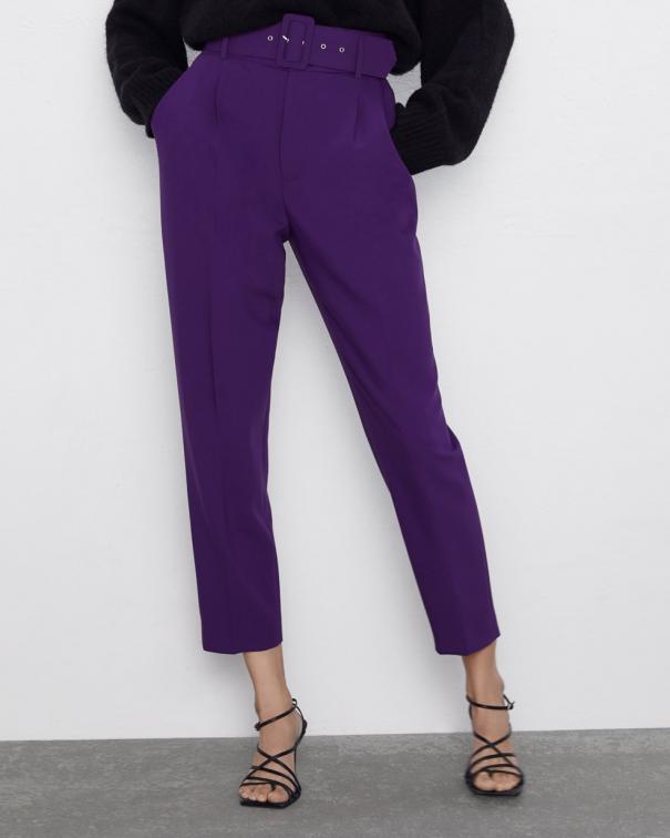 pantaloni paper viola