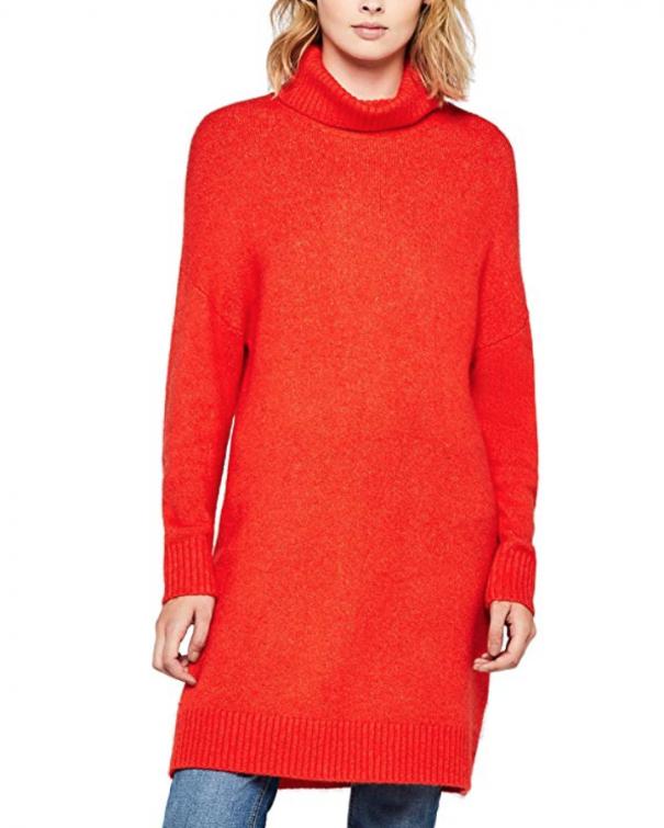 maglione rosso a collo alto
