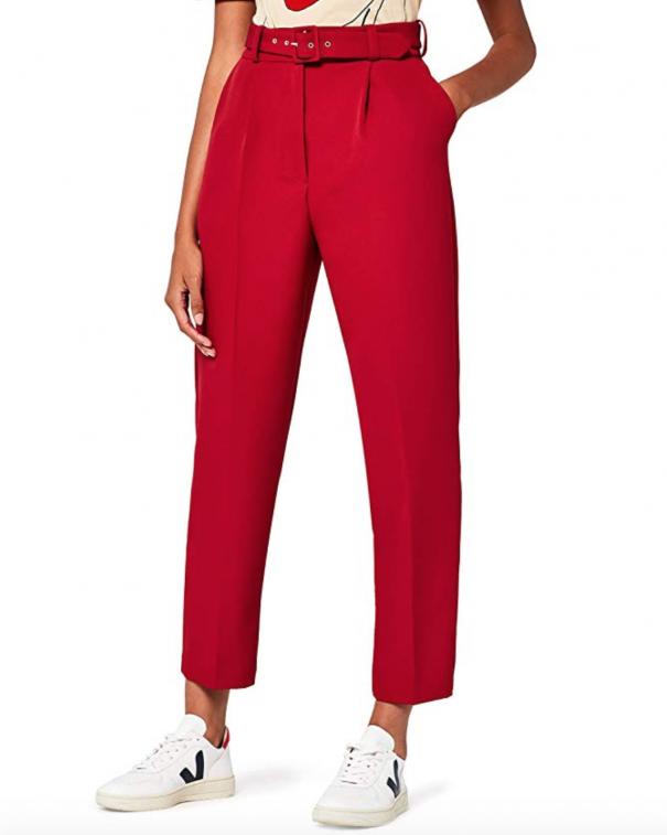 pantaloni a vita alta rossi