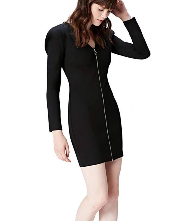 vestitino nero manica lunga con zip